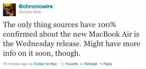 New MacBook Air Due This Wednesday