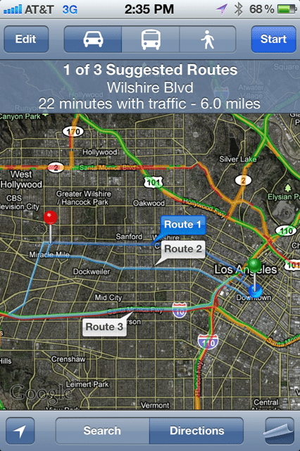 iOS 5 Google Maps Routes