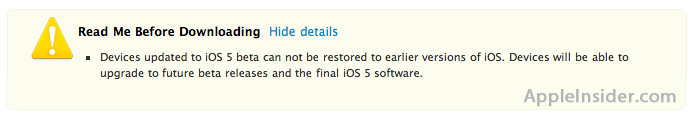 iOS 5 No Restore Warning