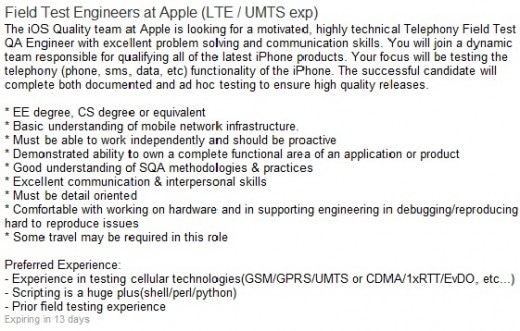 Apple Job Listing LTE iPhone 5