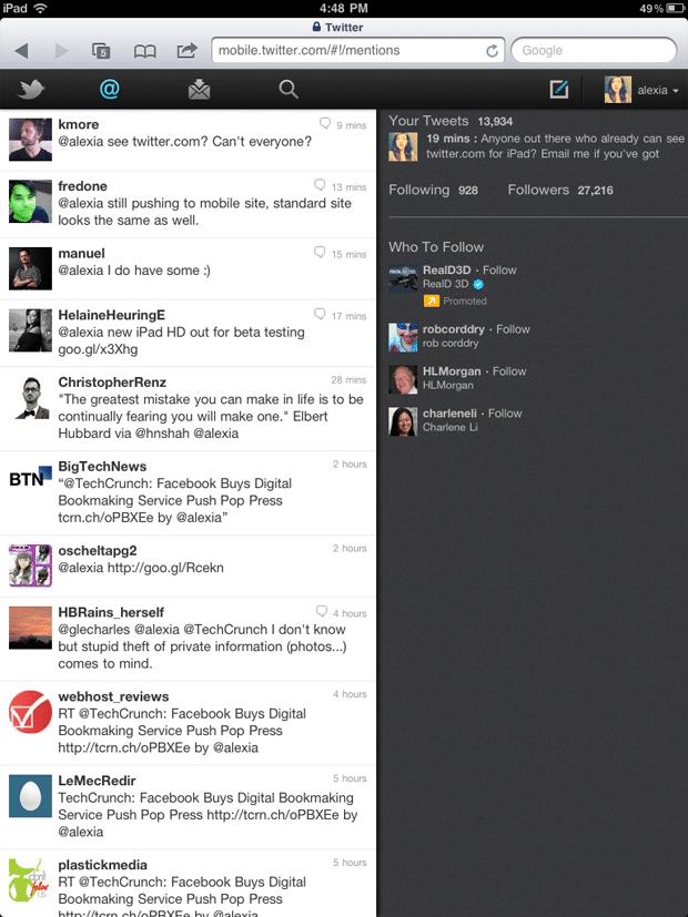 Twitter HTML5 iPad