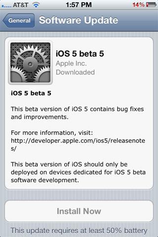 iOS 5 Beta 5 OTA