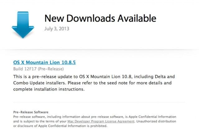 OS X Mountain Lion 10.8.5 Build 12F17