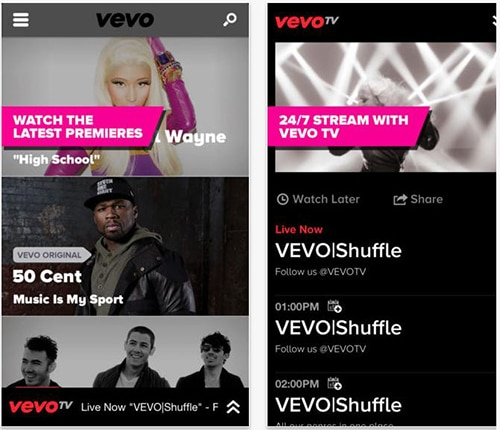 Vevo iPhone app