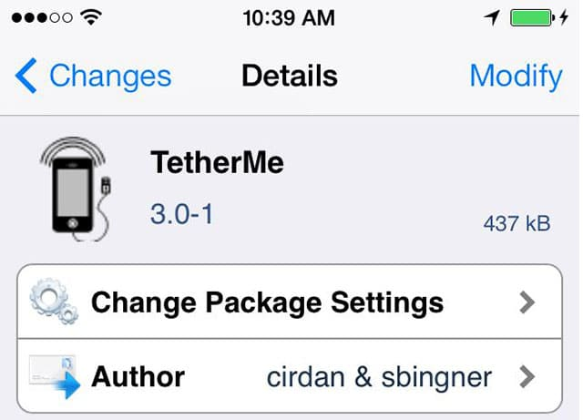 TetherMe iPhone tethering app updated for iOS 7, iPhone 5s 64bit