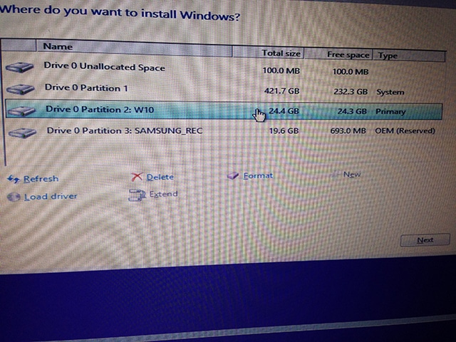 Windows 10 partition