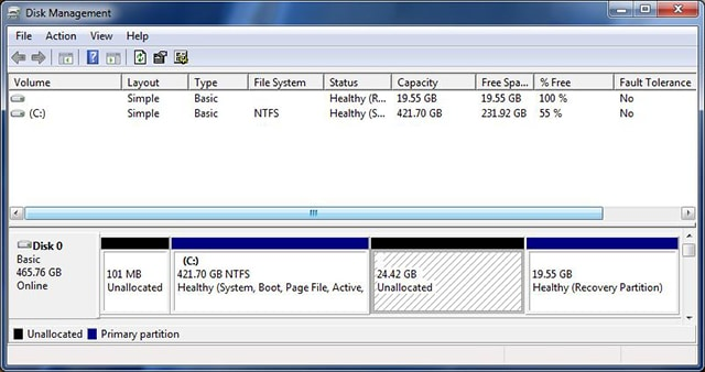 Windows 7 partition