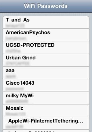 WiFi Passwords Cydia