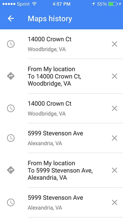 Google Maps location history iOS 8