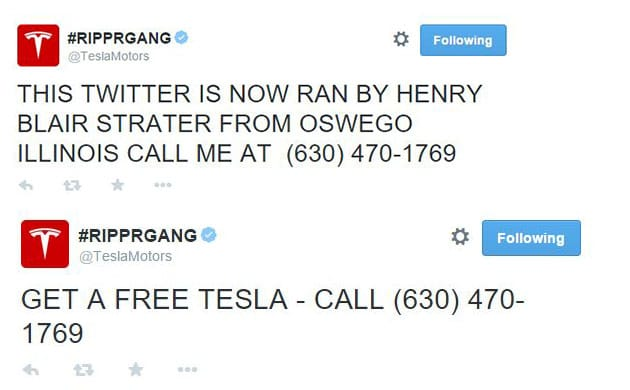 Tesla Motors Twitter hacked