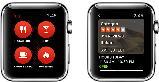 Yelp Apple Watch app