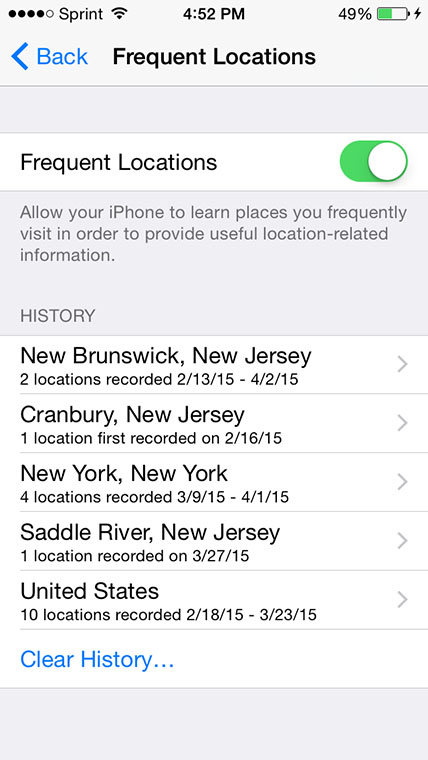 iPhone Location History