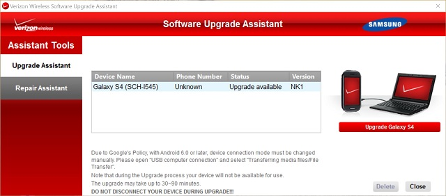 Verizon Wireless Software Upgrade Assistant