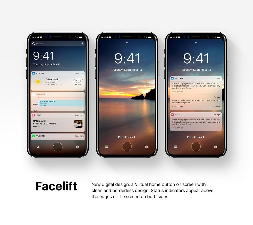 new stunning concept shows iphone 8 with ios 12 images. Black Bedroom Furniture Sets. Home Design Ideas
