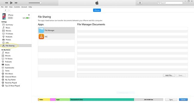 iTunes File Sharing iOS