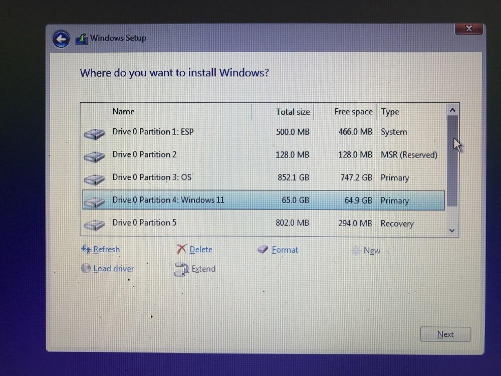 Windows 11 beta custom partition